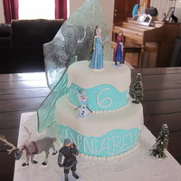 Disney Frozen Cake   Disney Frozen Cake, Elsa, Anna and other characters, candy ice, blue butter cream, fondant white snow