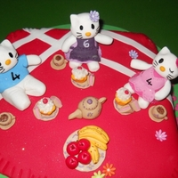 Hello Kitty Picnic Vanilla Sponge cake and gumpaste figures and treats