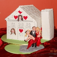 House Wedding Cake Chocolate weddingcake for a second marraige. Both had kids - the 3 girls peeping out of the windows. The Bride and Groom figurine I...
