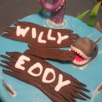 Shark Cake For Twins Turning 9 Top fondant gumpaste shark and octopus leg 9!