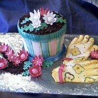Flower For Virginia   Iced flower pot and fondant gloves, and seed packets with hand painted details