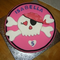 Pink Skull B-Day Fondant/gumpaste skull and crossbones.