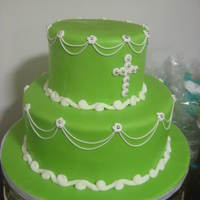 "First Communion Cake This was for my son's first communion. He wanted a ""green cake, mama, but nothing on top!"" and I obliged. :) Would love to..."