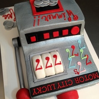 Slot Machine buttercream cake with fondant details