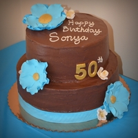 50Th Birthday   50th Birthday Cake with flowers