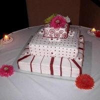 Square Wedding Cake Hot Pink Wedding cake