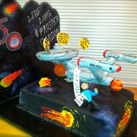 Star Trek Enterprise Retirement Cake  The enterprise is a little worn and weary. Spock is ready to retire and has his honey do list floating out into infinity. Live Long and...