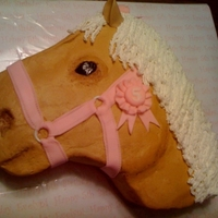 Palomino Head Little girl's birthday cake. She shows palominos.... All buttercream with fondant harness and ribbon.