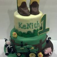 "John Deer 1St Birthday This cake was taken from another CC member (the mom found the cake online and wanted ""this cake"") Sugar Creations by Rebecca..."