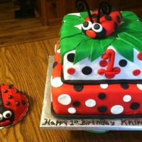 "Ladybugs Inspiration from Pink Cake Box......8"" French Vanilla with vanilla buttercream filling; 10"" Double Chocolate Fudge cake with..."