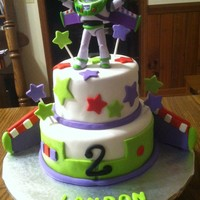 "Buzz Lightyear 6"" and 8"" French Vanilla cake with green and purple marbling inside (to match Buzz's colors!)"