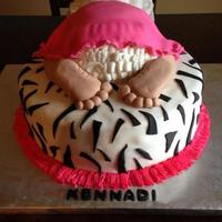 "Baby 'rump' Cake Baby shower cake....12"" zebra Strawberry cake with fresh strawberry puree, strawberry filling; fondant covered baby 'rump'..."