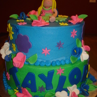 Hula Girl   Buttercream with fondant accessories.