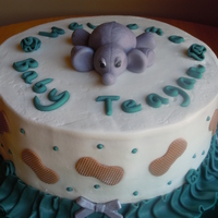 Elephant And Peanuts Baby Shower Triple layer smores cake. Buttercream frosting with fondant accents. Close up is of the elephant - I made it more like a stuffed animal to...