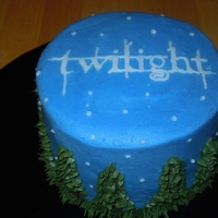 "Twilight Cake 6"" chocolate cake with chocolate truffle filling and buttercream frosting for a Twilight fan. I had fun piping the little trees and..."
