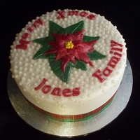 Christmas For The Jones' Traditional Fruit Cake covered in fondant, fondant flowers and pearl cachous.