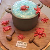 Crab Pot Cake This is a cake my 8-year old daughter and I made, along with my aunt, for my Uncle's 65th birthday. He would always buy crabs for me...