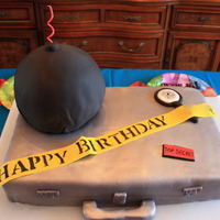 Secret Agent Birthday Party This cake was for the Secret Agent birthday party we had last year. It's a briefcase with a bomb on top. The wick is a spiral candle....