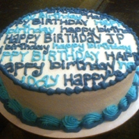 Happy Birthday Chocolate cake w/vanilla butter cream. TFL