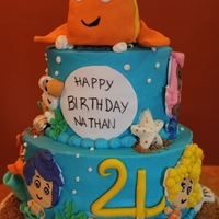 1344261749.jpg Choclate cake and Vanilla cake with Vanilla BC - fondant accents and fondant covered RKT fish topper. TFL