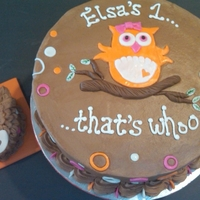 Whooo's One? First Birthday cake and owl smash cake to match invitations. Dark Chocolate cake with Chocolate Buttercream. Tootie Roll Branch and fondant...