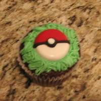 Pokemon Cupcakes   Chocolate cupcake with buttercream and chocolate Poke Ball
