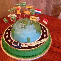 Globe Groom's Cake *Buttercream globe and base cake with fondant accents. Locations of importance to the bride and groom.