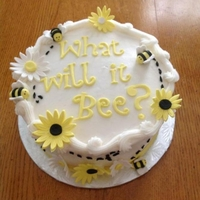 What Will It Bee?   round buttercream cake, fondant and gumpaste decorations