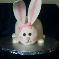 Long Eared Bunny butttercream cake with fondant ears and RKT fondant covered head.