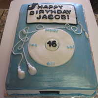 16Th Birthday Ipod Cake   sheet cake with buttercream and fondant accents