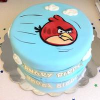 Angry Birds Angry Birds 2D cakeMM fondantstencil cut, face painted free hand