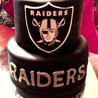 Raiders i used an edible image and placed it on white fondant, then cut out the trim. i really liked the outcome