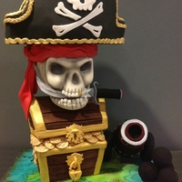 Pirate Skull Cake Chocolate mud cake, fondant and gum paste and all edible. Had heaps of fun coming up with this design for a little pirate turning 6.