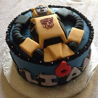 Transformers Bumblebee 9 inch cake, buttercream with fondant details.