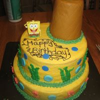 Spongebob Birthday Cake birthday cake covered in BC, fondant accents. pineapple is a plastic cup covered in fondant so it wouldn't be so heavy. I can't...