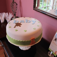 Cindy's Baby Shower Cake Baby shower cake we just finished. The invitation was our inspiration for this cake. Red velvet cake with cream cheese filling. Frosted...