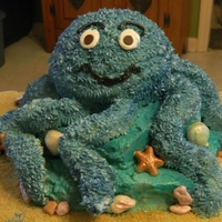 Octapus made from cake and ricekrispy treats.