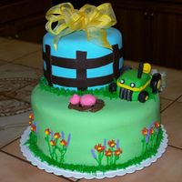 Adoption Shower I made this cake for the adoption of a 5 y/o boy and his new mommy. The cake is covered with fondant and all of the decorations are fondant...