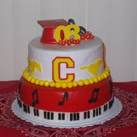 Graduation/music Cake This cake was for my sisters high school graduation. Music is a huge part of her life, so I had to work in the piano and music notes. The...