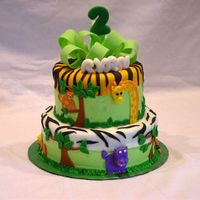 Jungle   Buttercream icing with fondant decorations