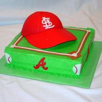 Baseball Hat   cake was for brothers. One a Cardinals fan the other Braves.