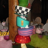"Theme Weddingcake To ""alice In The Wonderland"" Also the bride and groom, the guests as well as the service staff were dressed suitably on this subject Above all the statics of this cake..."