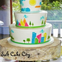Conceptual Ny & Utah Wedding Cake All marshmallow fondant covered and hand-cut designs based on the bride's amazing conceptual and colorful wedding invitation.