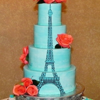 Eiffel Tower Quinceanera Cake All aqua Marshmallow fondant with hand-drawn Eiffel Tower