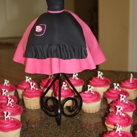 Old Fashioned Bridal Shower Bride's family wanted small old fashioned dress form cake to go with matching cupcakes.