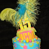 1315749621.jpg The topsy turvy cake was iced in buttercream with fondant decorations and feathers on top for decoration.