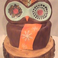Owl Cake This cake was designed after a toothbrush holder that someone sent me a picture of. It is hand carved and hand painted.