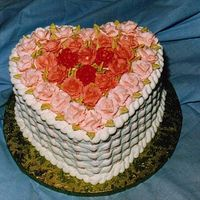 Basket Weave Cake With Buttercream Roses 1993 cake which I'm sure was for a birthday for someone. Lots of work on the buttercream roses. The whole cake was buttercream.
