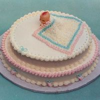 Baby Shower Cake From 1992 Before I knew about gum paste and fondant I used Saran wrap which I covered with buttercream stars. The baby was purchased.