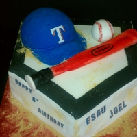 "Rangers Baseball Birthday   ""Used and Sanded"" Homeplate. Cake cap, fondant ball, and fondant bat. Writing is edible images."